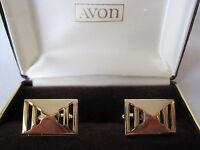 Avon Citation Gold-tone Geometric Cufflinks, Old Stock
