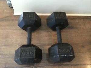 Vintage-50-lb-YORK-HEX-Dumbbells-Pair-Gym-Strongman-Pumping-Crossfit-USA