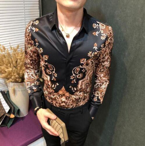 Mens Nightclub Dress Slim Fit Casual T-shirts Floral Printed Long Sleeve Tops sz