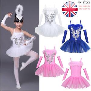 56e9f52c1068 UK Girl Kid Ballet Dress Leotard Tutu Skirt Ballerina Dancewear Swan ...