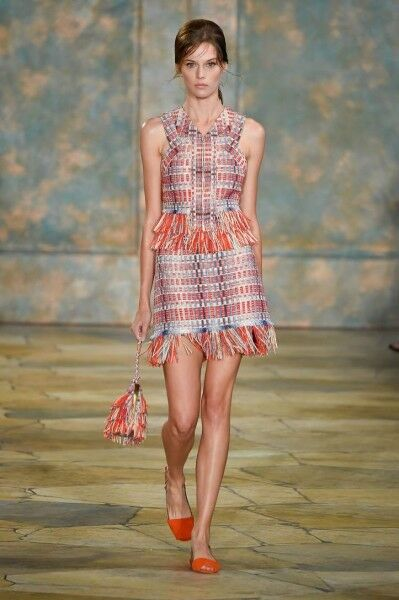 Tory Burch  Tara Skirt Summer 2016 Runway 4 Tweed Fringe S RARE NWT