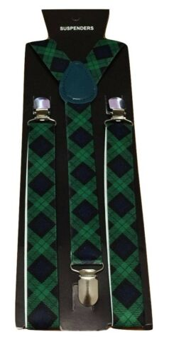 Adult Children Kid Boy Braces suspender Scotland Tartan Fancy Dress UK