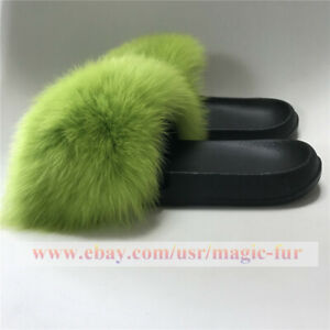 Neon Green Fluffy Real Fox Fur Slides