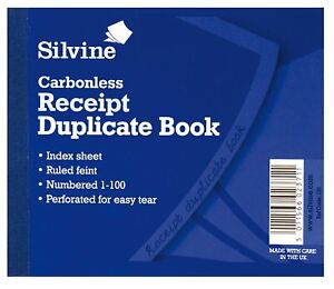 Invoice Sales Record Receipt Book/Numbered 1-100/Duplicate with Index Sheet with VAT