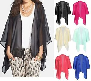 NEW WOMENS PRINTED PLAIN CHIFFON KIMONO CARDIGAN SHRUG OPEN ...