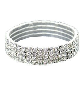 0f95fad97eb1c Details about DIAMANTE CRYSTAL RHINESTONE 4 ROW STRETCH BRACELET FOR WOMEN  COSTUME JEWELLERY