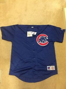 the latest f82a3 fd7ae Details about Russell MLB Chicago Cubs Navy Blue Anthony Rizzo Spring  Training Jersey