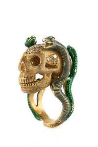 Delfina Delettrez 18K Gold Diamond Snake Skull Statement Ring Size 6 New $11400