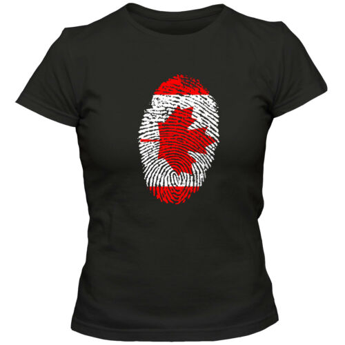 Damen T-Shirt CANADA  Kanada  Ahorn Blatt Eishockey Fußball Fingerabdruck WM