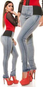 Curvy-Girls-Damen-KouCla-High-Waist-Jeanshose-Skinny-Jeans-Hose