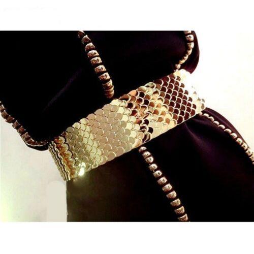 Lady Gold ceinture large Gothique Punk Corset Vintage échelle Élastique Brillant Fashion