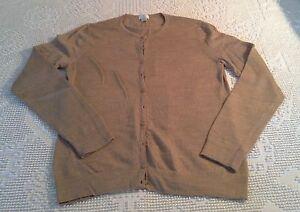 BELFORD Lovely Soft Camel Brown Cardigan Sweater 100% Lightweight ...
