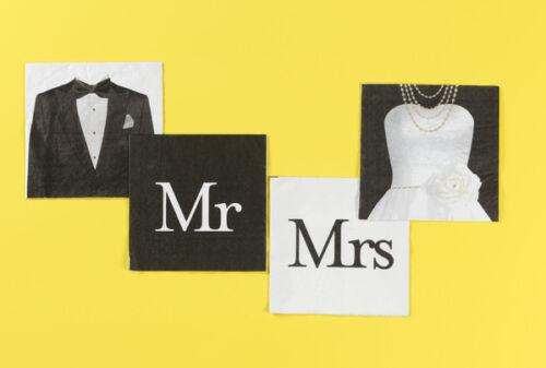 und Mrs Party Servietten Tisch Deko Dekoration Motivservietten Hochzeit Mr