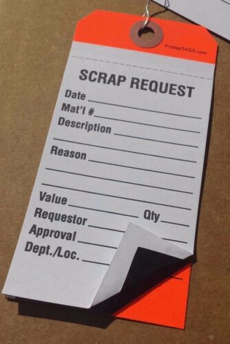 100 Scrap Request manifold Material inventory inspection paper hang tags w wires