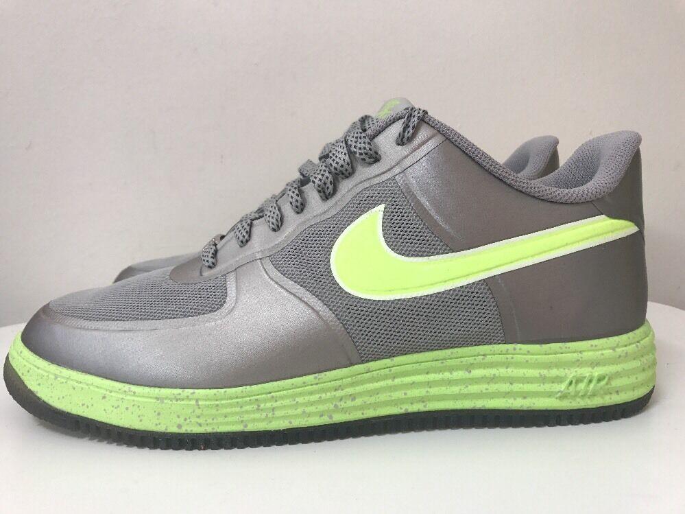 Nike Lunar Force 1 Fuse Mens schuhe UK 8.5 EUR 43 Silber Grün 555027 002
