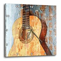 Patricia Sanders Vintage Guitar Music Instruments Wall Clock, 10 By 10-inch, on sale