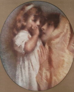 YOUNG-MOTHER-Daughet-Maternal-Love-by-T-Cremona-SCARCE-1915-Color-Print