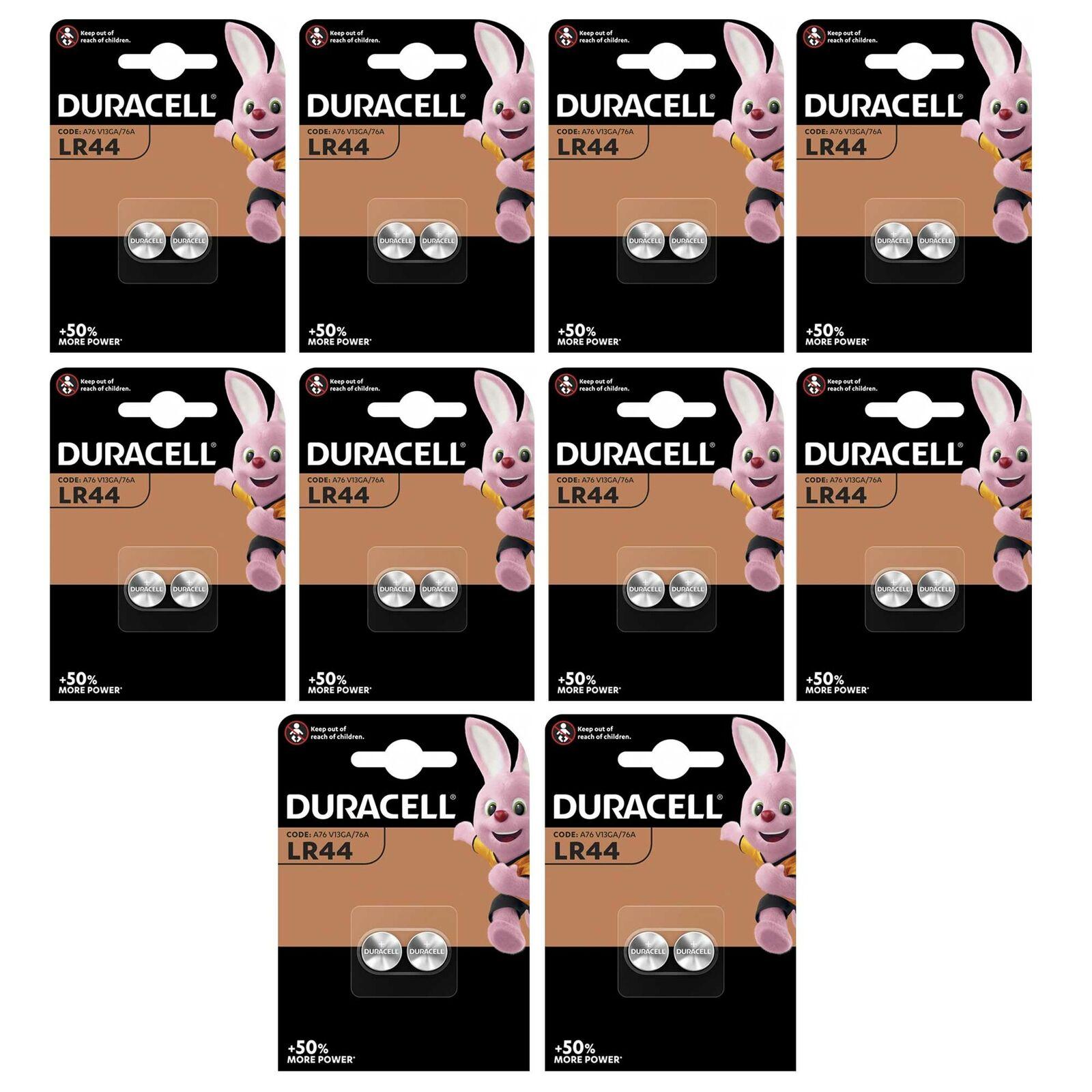 20 X Batteries Duracell, Alkaline, Button cell, lr44 ag13, 1.5v, 10 x 2 Piece