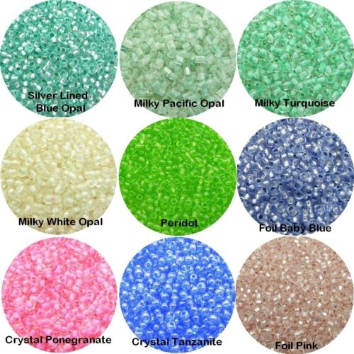 x FOIL Lined 15gm. Transparent GLASS Seed BEADS 15//0 1800pcs+ Iridescent