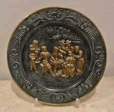 """Vtg"""" Pub Tavern Scene"""" Embossed Collector Brass Plate Made in England 14-3/8"""""""