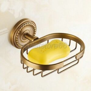 Bathroom-Accessory-Antique-Brass-Wall-Mount-Wire-Soap-Dish-Holder-Basket-qba092