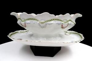"ROSENTHAL #R-1344 VERSAILLES SWAG WREATH 8 7/8"" GRAVY BOAT ATTACHED UNDER PLATE"