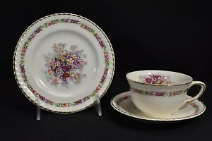 Johnson-Brothers-Queen-039-s-Bouquet-Cup-amp-Saucer-Bread-amp-Butter-Plate-Trio