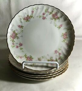 """5 Syracuse Silhouette Shape Pink Floral Spray 6 1/2"""" Coupe Bread Plates"""