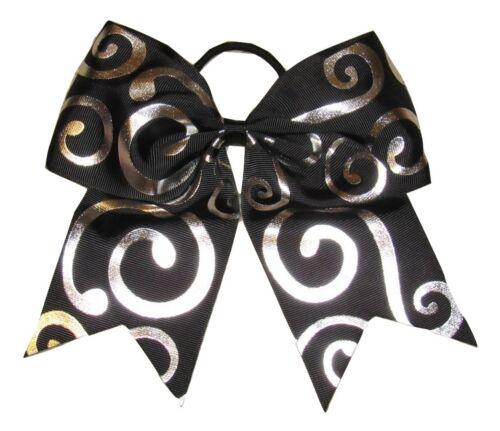 "NEW /""Silver Swirl BLACK/"" Cheer Bow Pony Tail Ribbon Hair Bows Cheerleading"