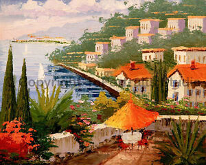 Mediterranean-Spanish-Town-Original-Landscape-Oil-Painting-Artwork-34-034-x-26-034