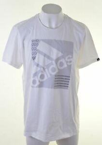 Adidas-Camiseta-Top-Grafico-de-hombre-2XL-Blanco-Algodon-GQ03