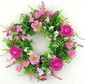 Tuerkranz-Ranunkel-rosa-pink-Tischkranz-30cm-Kranz-Fruehling-Blumen-Blueten-Sommer