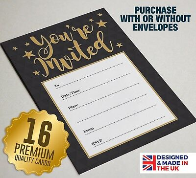 Gold /'You/'re Invited/' Quality Party Invitations Pack of 16 A6 Cards Black