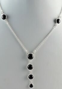 Black-Onyx-925-Solid-Sterling-Silver-Handmade-Necklace-Length-16-to-24-Inches