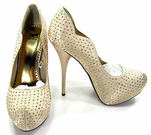"Shiekh Shoes Rhinestone Studed 1.5"" Platform 5.5"" Stiletto  Heels Pink Size 8.5"