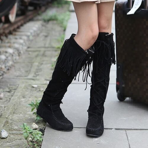 Gladiator Thigh Boots Knee High Tassel Falst Lace up Womens Shoes Comfy Size New
