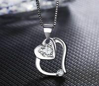 Jewelry Double Heart Romantic Women Fashion 14k White Gold Over Necklace Pendant
