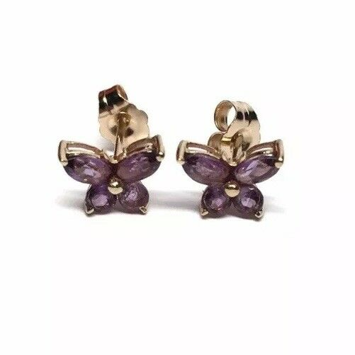 061e330d58f80 Butterfly Amethyst gold 14K Estate Pierced Vintage Earrings ...