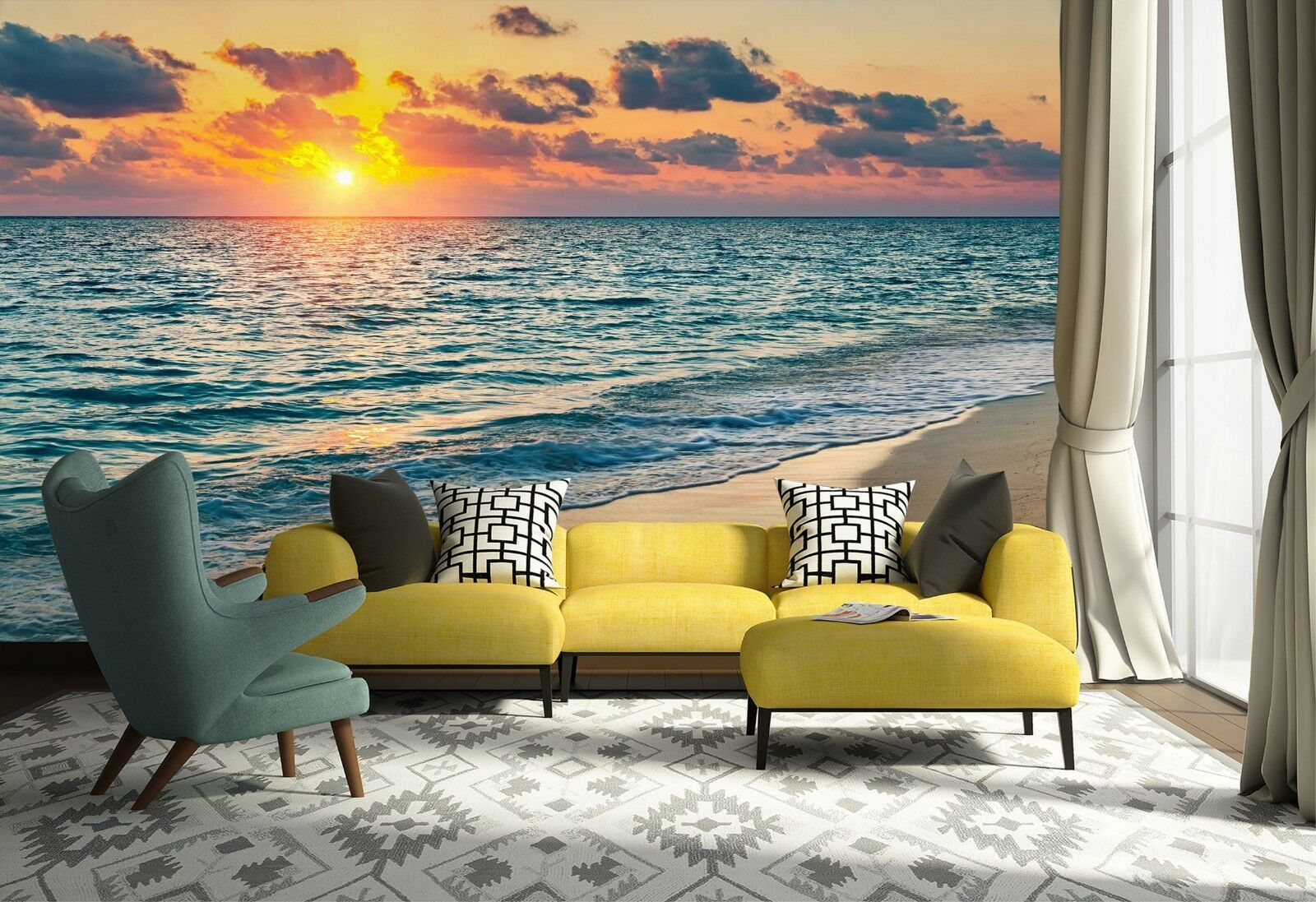 3D Sea Sun Nature 7122 Wallpaper Mural Wall Print Wall Wallpaper Murals US Lemon
