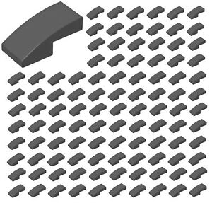 Lego-100x-DARK-GRAY-Slope-Curved-2-x-1-No-Studs-Parts-Pieces-11477
