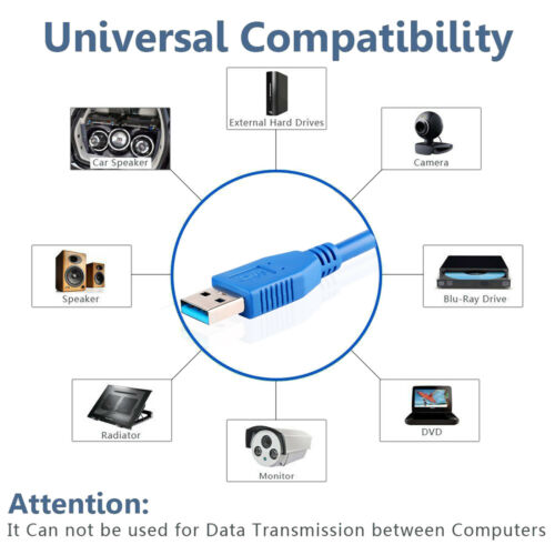Superspeed USB 3.0 Type A Male to Type A Male 24//28AWG Cable 6 Feet US Blue