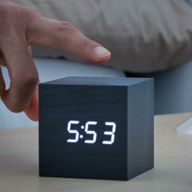 Sveglia Orologio Digitale Cube da Tavolo USB con Ora Data e Temperatura Cubo Ner