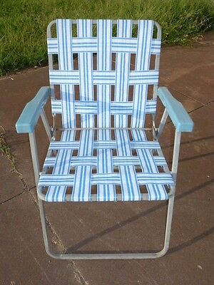 Vintage Retro Folding Webbed Lawn Chair White Blue Metal