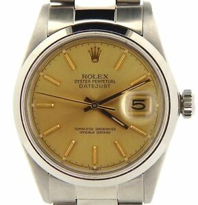 Rolex-Datejust-Mens-Stainless-Steel-Watch-Oyster-w-Gold-Champagne-Dial-16030