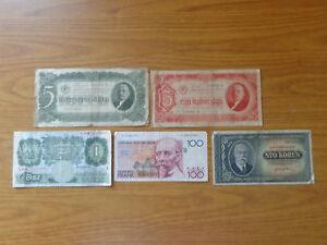 LOTTO-5-banconote-RUSSIA-BELGIO-INGHILTERRA-CECOSLOVACCHIA-NUMISMATICA-SUBALPINA