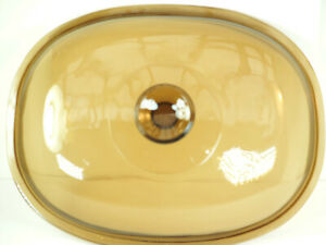 """Vint Amber Glass Replacement Roaster Dish Lid 17 Pyrex F-14-C 11 3/4"""" x 9"""" # 17"""