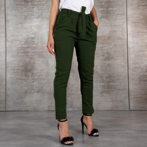 Mode Femme Pantalon Casual Ample Avec Ceinture Taille elastique Poche Long Plus