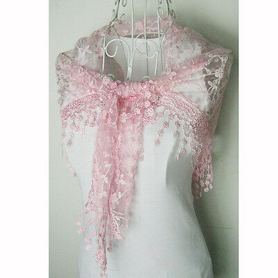 Beauty Women Lady Rose Embroidery Lace Triangle Soft Wraps Scarves Best Match