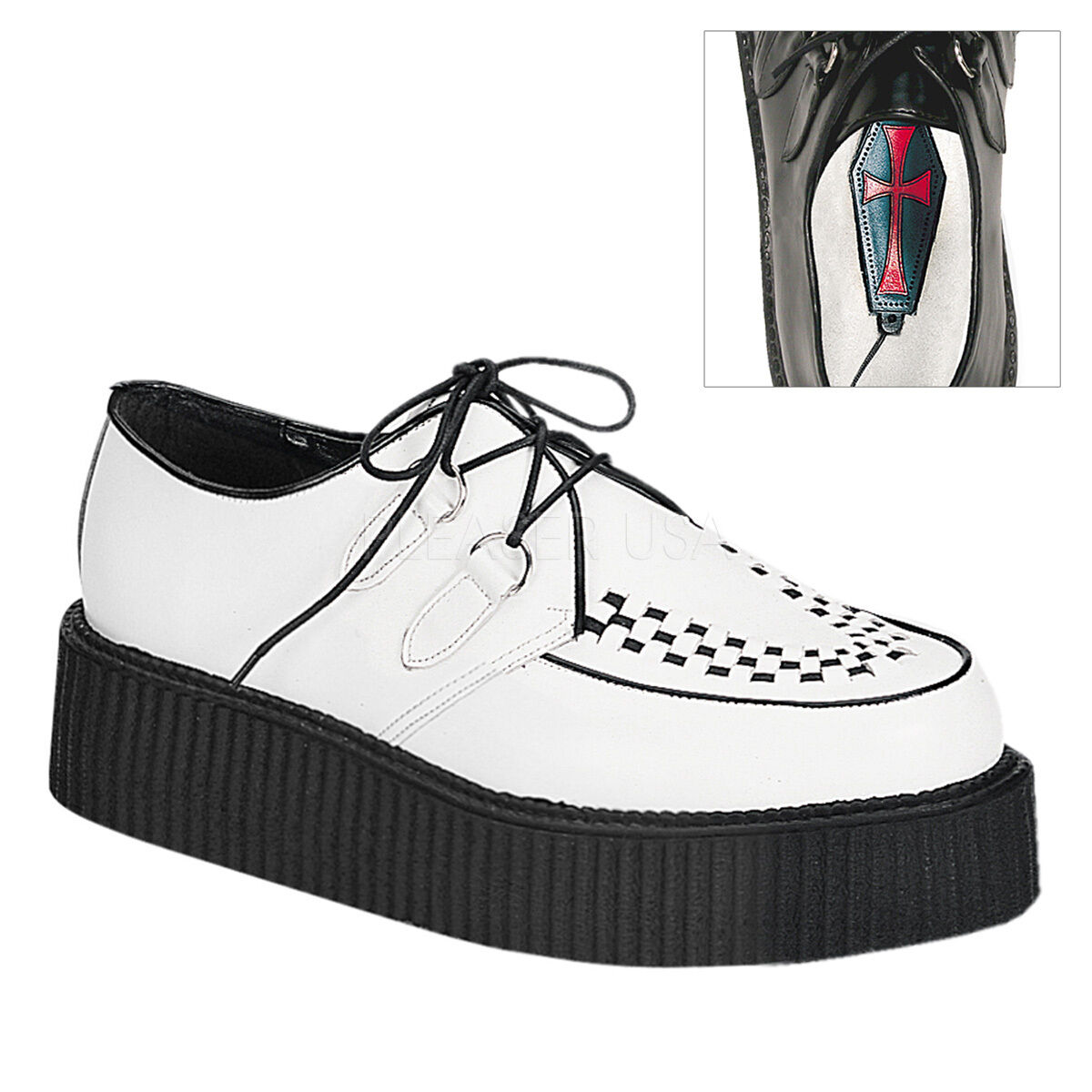Demonia 2  Platform White Leather Creepers shoes Gothic 4 5 6 7 8 9 10 11 12 13