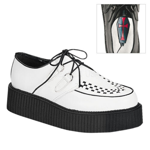 "Demonia 2/"" Platform White Leather Creepers Shoes Gothic 4 5 6 7 8 9 10 11 12 13"